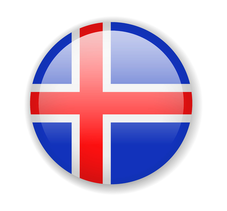 Iceland flag. Round bright Icon. Vector Illustration