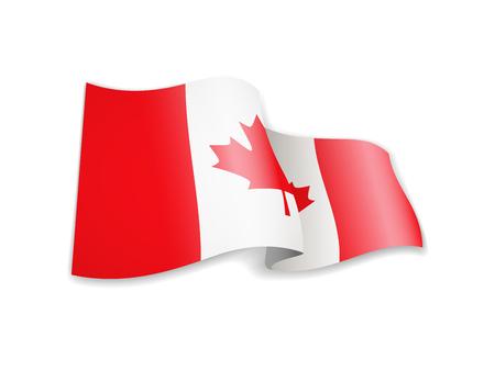 Waving Canada flag on white background. Vector illustration Vektorgrafik