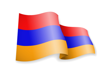 Waving Armenia flag on white background. Vector illustration