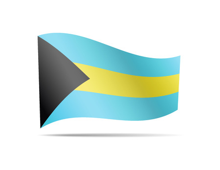 Waving Bahamas flag on white. Flag in the wind.