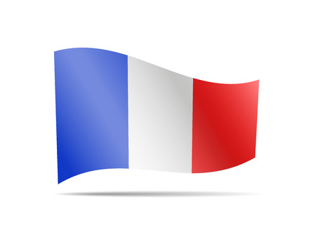 Waving France Flag on white. Flag in the Wind. Vector illustration.