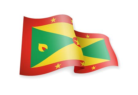 Waving Grenada flag on white background. Vector illustration Illusztráció