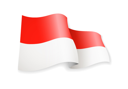 Waving Monaco flag on white background. Vector illustration 일러스트