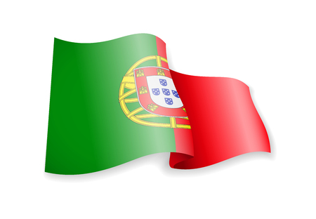 Waving Portugal flag on white background. Vector illustration