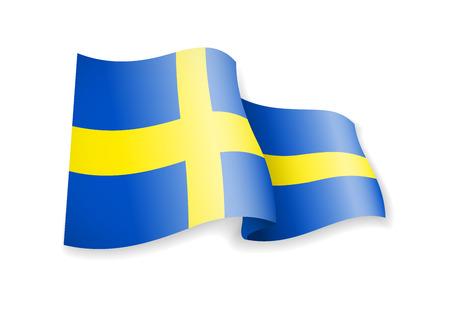 Waving Sweden flag on white background. Vector illustration