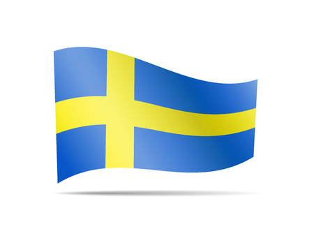 Waving Sweden flag on white. Flag in the wind.