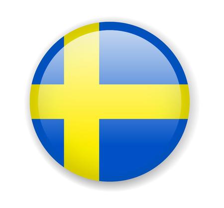Sweden flag. Round bright Icon. Vector Illustration