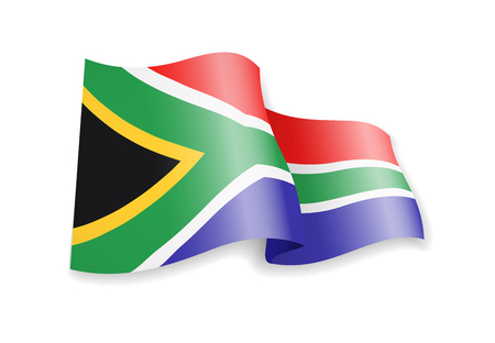 South Africa flag in the wind. Flag on white background. Vector illustration