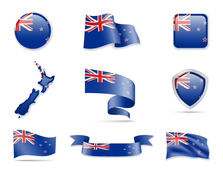 New Zealand flags collection. Flags and outline of the country. Vector illustration