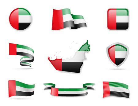United Arab Emirates flags collection. Flags and outline of the country. Vector illustration