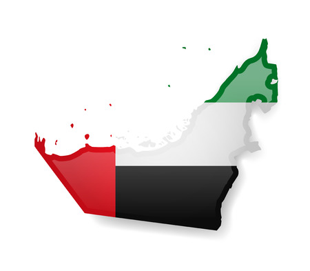 United Arab Emirates flag and outline of the country on a white background. Vector illustration.  イラスト・ベクター素材