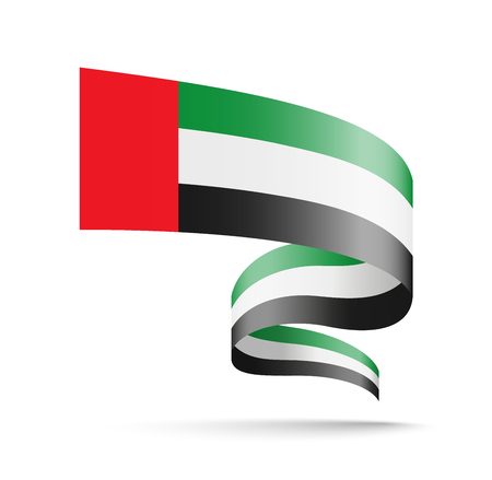 United Arab Emirates flag in the form of wave ribbon. Vector illustration on white background. Banco de Imagens - 116844867