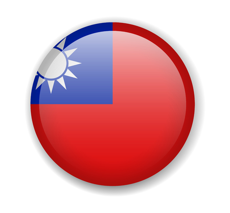 Taiwan flag. Round bright Icon. Vector Illustration