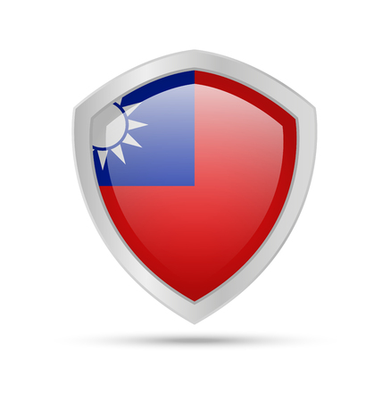 Shield with Taiwan flag on white background. Vector illustration. Archivio Fotografico - 115727657