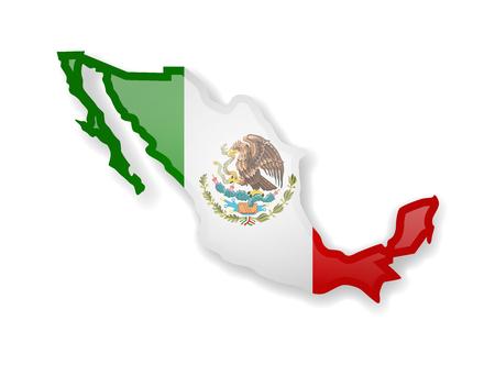 Bandera de México y el contorno del país sobre un fondo blanco. Ilustración vectorial.