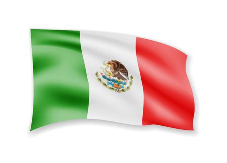 Ondeando la bandera de México en blanco. Bandera en la ilustración de vector de viento.