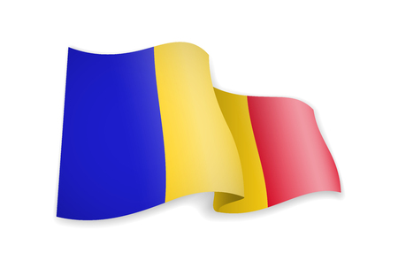 Chad flag in the wind. Flag on white background vector illustration Иллюстрация