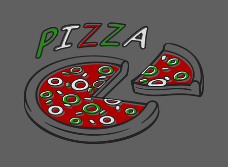 Italian pizza icon isolated on a gray background. Banner for pizza boxes vector illustration Illustration