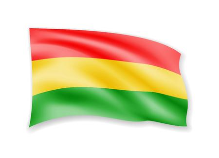 Waving Bolivia flag on white. Flag in the wind vector illustration. Imagens - 116844900
