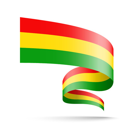 Bolivia flag in the form of wave ribbon vector illustration on white background.