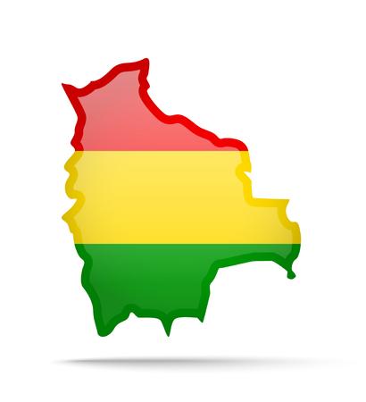 Bolivia flag and outline of the country on a white background. Vector illustration. Ilustração