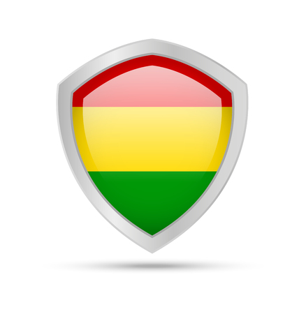 Shield with Bolivia flag on white background. Vector illustration. Imagens - 117775392