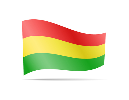Waving Bolivia flag in the wind. Flag on white background vector illustration