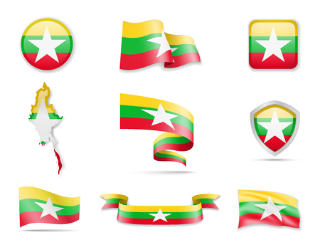 Myanmar flags collection. Flags and outline of the country vector illustration set