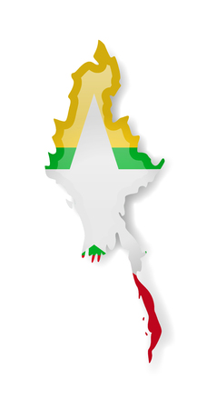 Myanmar flag and outline of the country on a white background. Vector illustration.