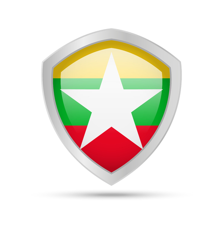 Shield with Myanmar flag on white background. Vector illustration.