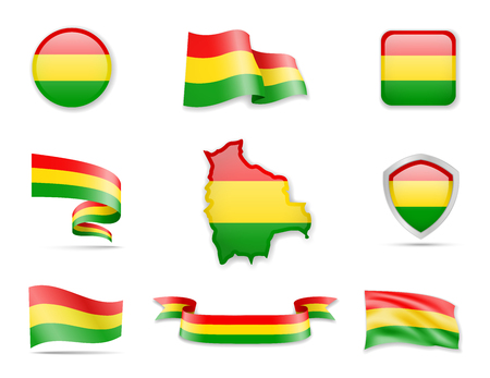 Bolivia flags collection. Flags and outline of the country vector illustration set