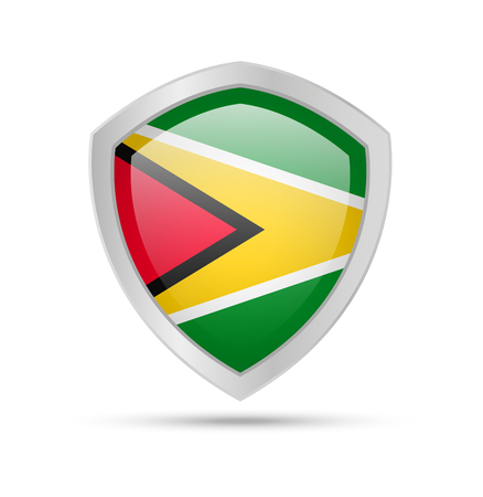 Shield with Guyana flag on white background. Vector illustration.