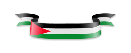 Palestine flag in the form of wave ribbon. Vector illustration.