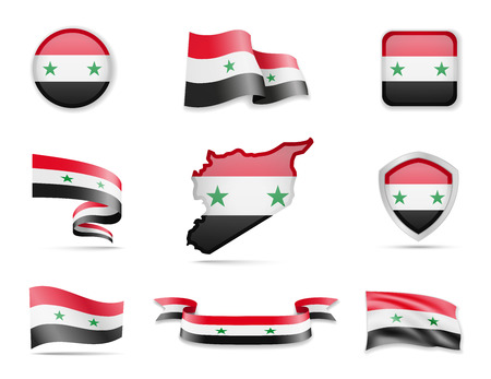 Syria flags collection. Flags and outline of the country vector illustration set