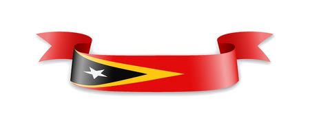 East Timor flag in the form of wave ribbon. Vector illustration.