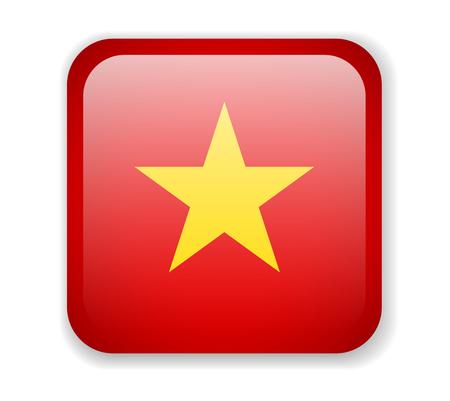 Vietnam flag bright square icon. Vector Illustration