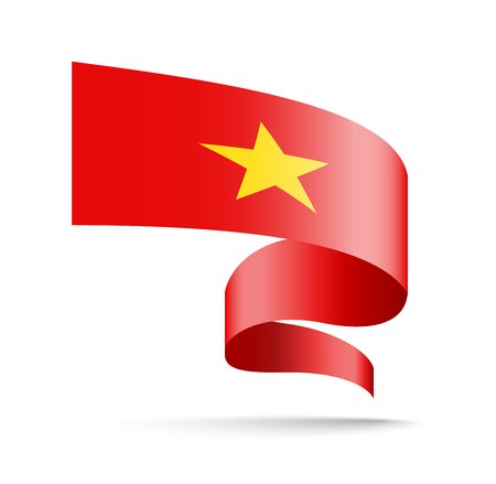 Vietnam flag in the form of wave ribbon vector illustration on white background.