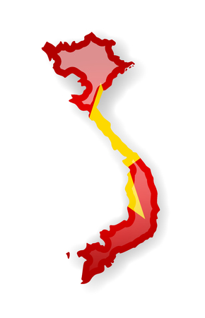 Vietnam flag and outline of the country on a white background. Vector illustration.