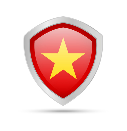 Shield with Vietnam flag on white background. Vector illustration.