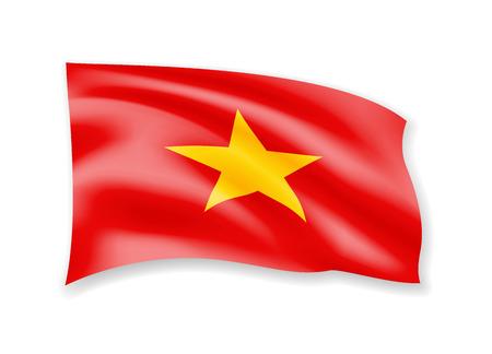 Waving Vietnam flag on white. Flag in the wind vector illustration.