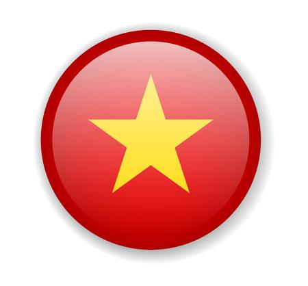 Vietnam flag round bright icon vector Illustration