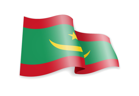 Mauritania flag in the wind. Flag on white background vector illustration