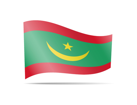 Waving Mauritania flag in the wind. Flag on white background vector illustration Illustration
