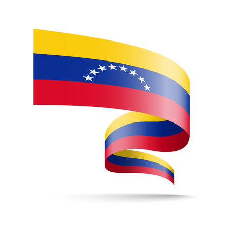 Venezuela flag in the form of wave ribbon vector illustration on white background. Vectores