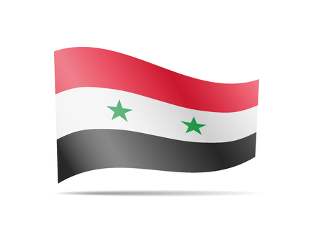 Waving Syria flag in the wind. Flag on white background vector illustration Vectores