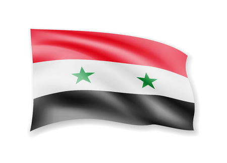 Waving Syria flag on white. Flag in the wind vector illustration. Ilustrace