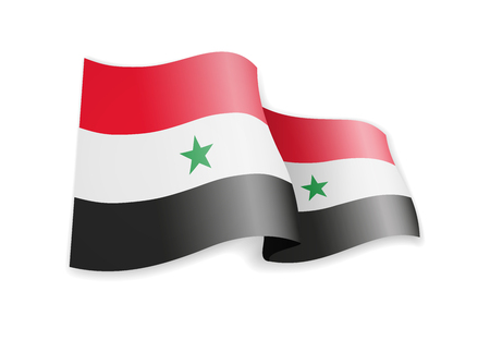 Syria flag in the wind. Flag on white background vector illustration