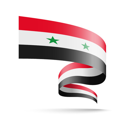 Syria flag in the form of wave ribbon vector illustration on white background.