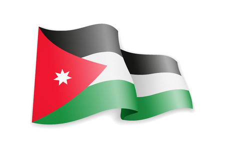 Jordan flag in the wind. Flag on white background vector illustration