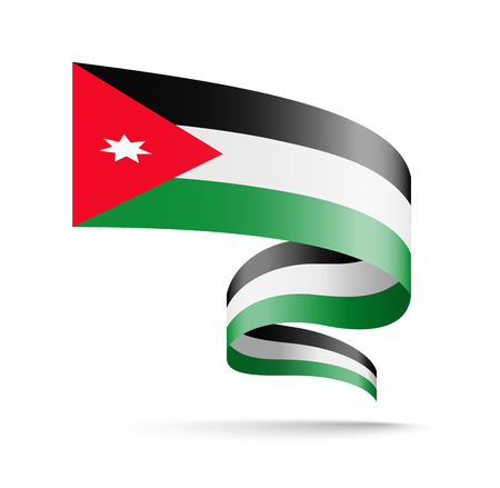 Jordan flag in the form of wave ribbon vector illustration on white background.